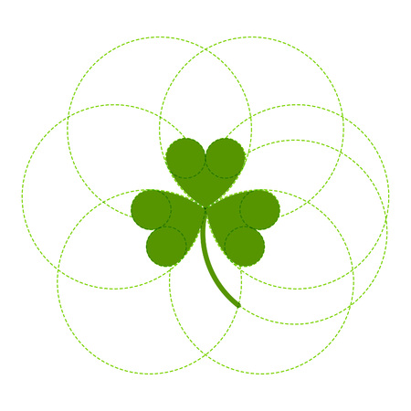 delineation: Green clover easy logo. Irish Saint Patricks day vector symbol.