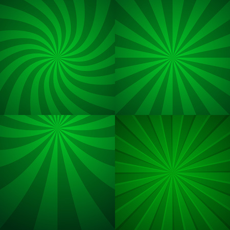 green backgrounds: Set of four green rising backgrounds. Abstract vector graphic.
