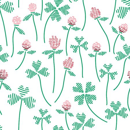 fancywork: Fancywork natural vector seamless pattern with clovers and flowers. Illustration