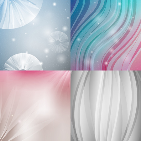 textured backgrounds: Abstract backgrounds with shiny lines. Vector northern radiance textured set. Illustration