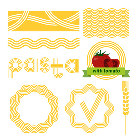 noodles: Pasta package labels design set. Vector background elements. Illustration