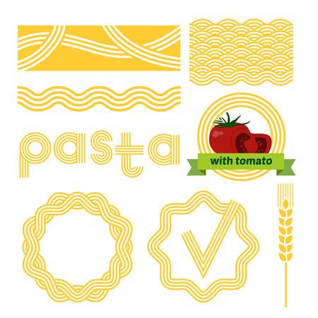 Pasta package labels design set. Vector background elements. Illustration