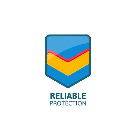 reliable: Reliable protection colorful shield with mark.Business logo template. Illustration