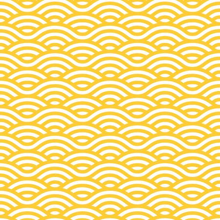 patrón transparente de color amarillo y blanco ondas. Ornamento vector lineal.