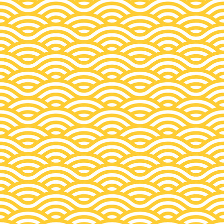 waves pattern: Yellow and white waves seamless pattern. Vector linear ornament.