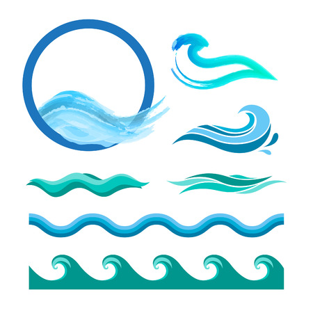 at sea: Set of blue ocean waves. Vector logo elements. Sea water icons.