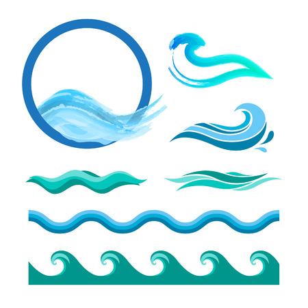 Set van blauwe oceaan golven. Vector logo elementen. Zeewater pictogrammen.
