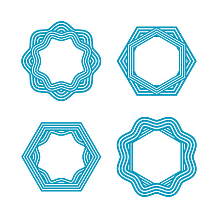 blue logo: Set of linear frames, emblems and badges. Abstract waves logo templates. Blue graphic design elements.