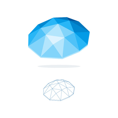Abstract blue polygonal logo.Vector low poly shape. Concept business icon.