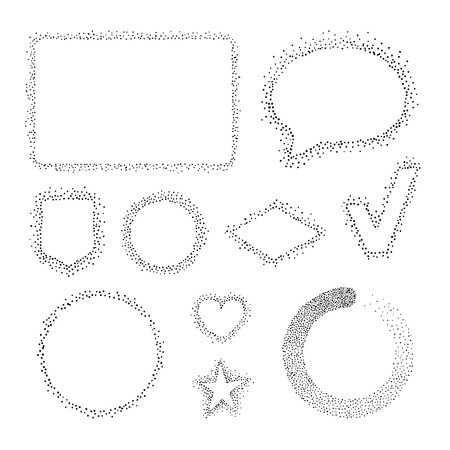 pointillism: Set of isolated dotted shapes. Vector abstract frames and forms.