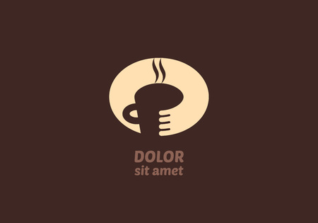 coffee to go: Coffee house icon concept. Vector coffee and tea shop logo idea. Monochrome negative space symbol. Illustration