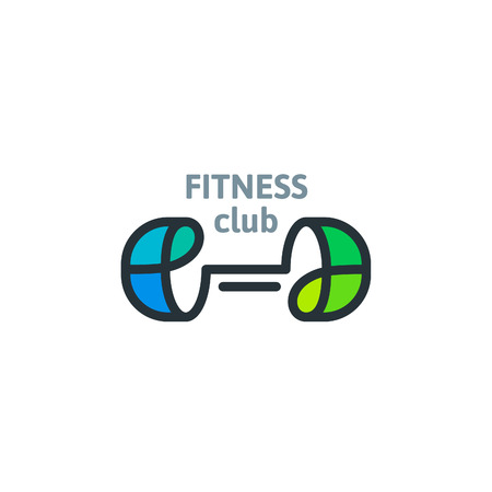 Linear fitness club template logo. Dumbbell colorful vector icon. Sport symbol.