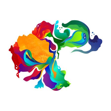Vector verf abstracte achtergrond. Kleurrijke splash aquarel druppels. Vector zentangle art. Geïsoleerd op een witte achtergrond.