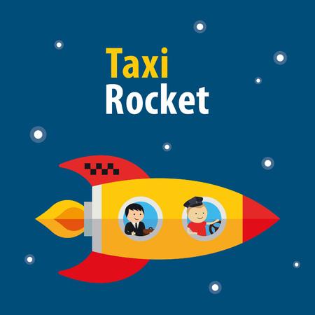 Vector de taxi cohete colorido ilustración de dibujos animados. concepto plana linda Vectores