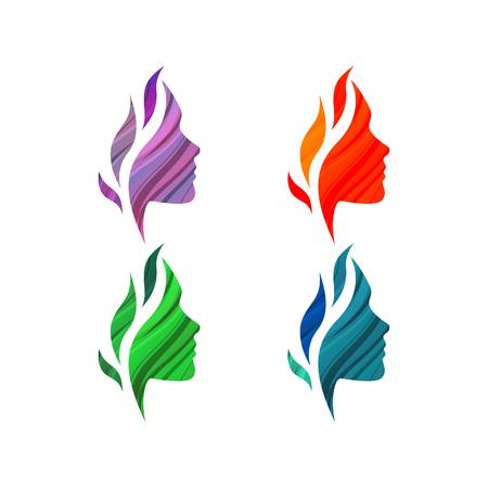 feminino: Grupo de colorido bonito rostos femininos com ondas. Molde do logotipo do vetor. Conceito de negócio abstrato para o salão de beleza, barbearias, massagem, estética e spa. Ilustração