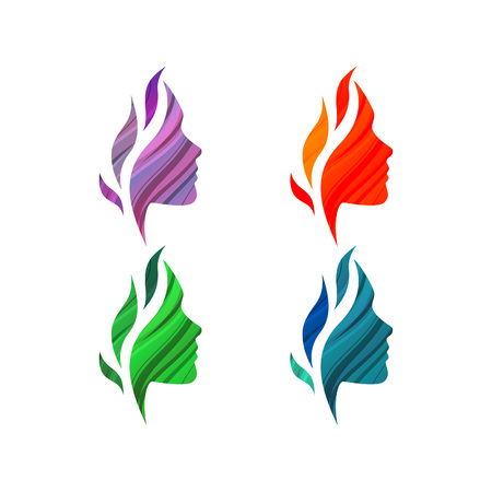 volti: Set di coloratissimi bella femmina si affaccia con le onde. Vector logo template. Concetto astratto business per salone di bellezza, negozi di barbiere, massaggi, estetica e benessere.