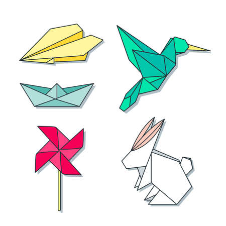 origami: Origami toys and animals colorful set. Vector geometric flat icons.