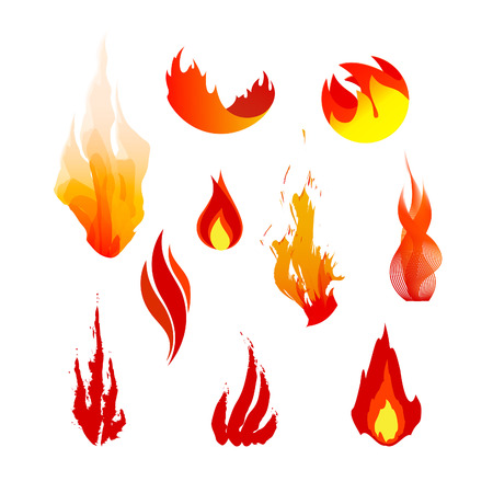 combust: Set of red, orange and yellow fire symbols. Vector logo elements. Flame icons.