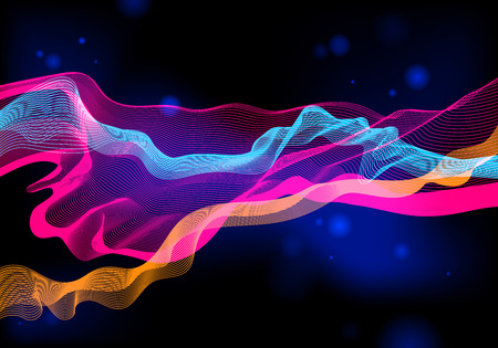Vibrant shiny colorful background with waves. Vector aurora borealis abstract illustration.