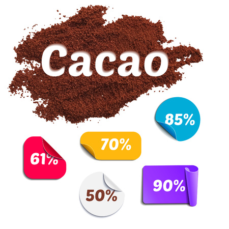 powder: Cacao Percentage Set. Realistic Isolated Cocoa Powder and Colorful Labels with Percents. Vector Illustration Illustration