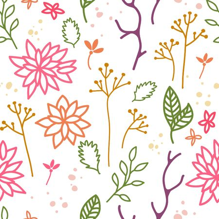 herbarium: Elegant Decorative Background with Leaves and Flowers. Isolated Floral Seamless Pattern. Vector Colorful Seasonal Illustration.