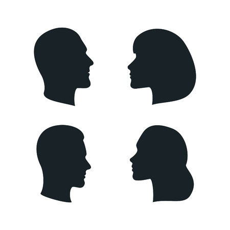 from side: Black Isolated Faces Profiles. Men, Woman, Family Silhouettes. Vector Male and Female Signs.