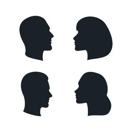 gesicht: Schwarz isolierte Gesichter Profile. Männer, Frauen, Familie Silhouetten. Vektor Männliche und weibliche Zeichen.