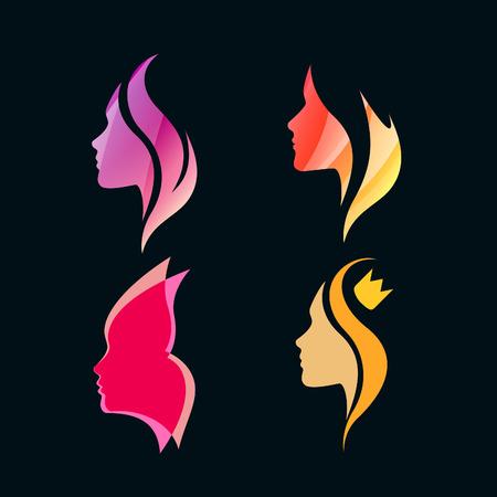donna farfalla: Set di Colorful ragazze isolate Profili. Vector Silhouettes. Logo Concetto per Saloni di bellezza e Spa.
