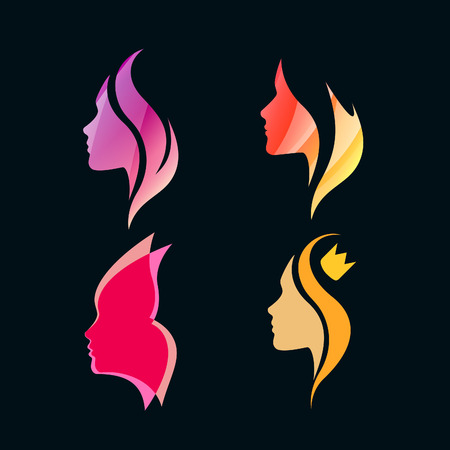 butterfly women: Set of Colorful Isolated Girls Profiles. Vector Silhouettes. Logo Concept for Beauty Salons and Spa.