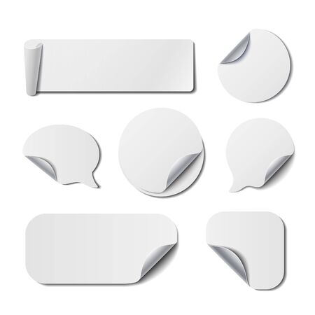 peel: Set of White Isolated Turned Stickers. Vector Backgrounds for Price Tags, Banners and Advertisement.