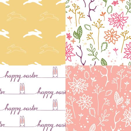 easter background: Set of Four Cute Easter Seamless Patterns. Vector Background for Greeting Cards, Holiday Banners, Promotional Materials and Gifts. Illustration