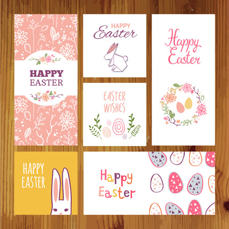 Set of cute easter greeting cards. Vector holiday design concept.
