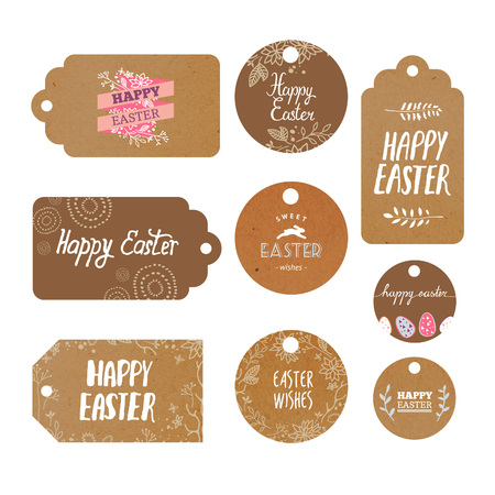 kraft: Set of modern isolated kraft tags with easter greetings. Vector labels decor. Illustration