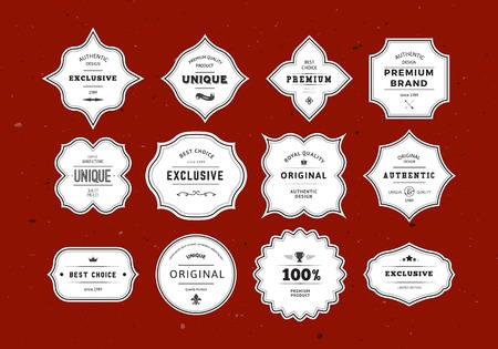 gestalten: Grunge Retro-Etiketten Set. Weinlese-Vektor-Design-Elemente für Verpackung, Identität, Logos, Etiketten und Abzeichen. Illustration