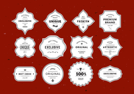Grunge Retro Labels Set. Vintage Vector Design Elements voor Verpakkingen, Identiteit, logo's, etiketten en insignes. Stockfoto - 44483297