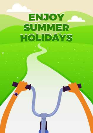 filming point of view: Biking Riders Perspective Illustration. Vector Cartoon Flat Poster. Enjoy Summer Holydays Concept.