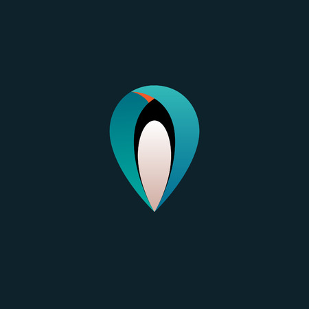 Logo Location Pin Map Symbol with Emperor Penguin. Geo Point Navigation Icon. Vector Design Template.