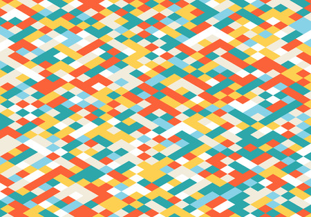 isometry: Abstract Colorful Geometric Background. Modern Flat Isometry Illustration. Vector Random Colored Decorative Wallpaper.