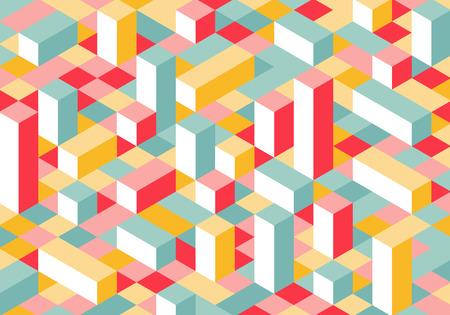 モダンなフラット アイソ メトリック図法の背景。カラフルなベクトルの平行六面体のテクスチャです。