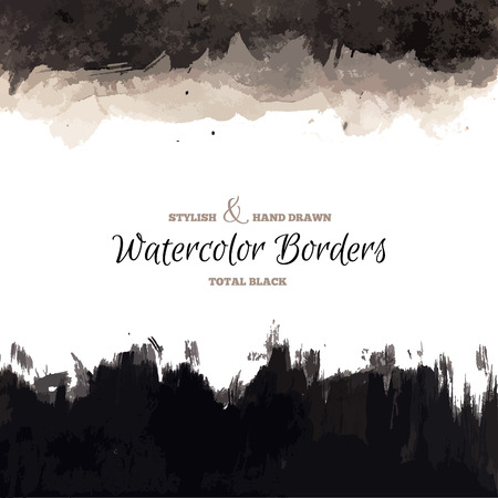 watercolor paper: Black Watercolor Hand Drawn Borders. Vector Dark Backgrounds. Grunge Paintbrush Texture.