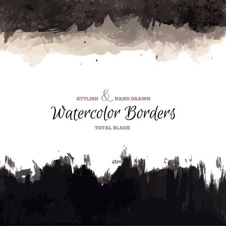 Black Watercolor Hand Drawn Borders. Vector Dark Backgrounds. Grunge Paintbrush Texture.