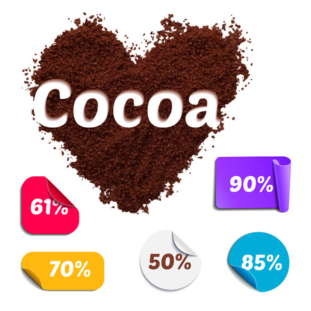 peel: Heart Shaped Realistic Cocoa Powder with Labels. Cacao Percentage Set for Chocolate Packaging. Illustration