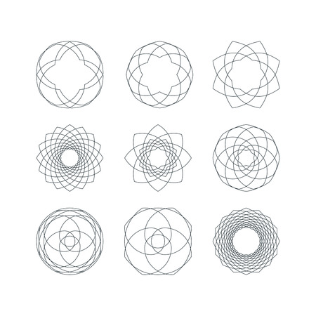 microprint: Set of Outline Isolated Guilloche Forms. Vector Decorative Pattern Elements.