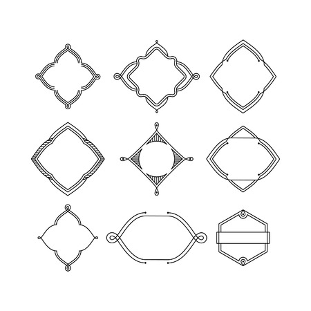 diamond shape: Set of 9 Stylish Line Iinsignias. Vector Vintage Frames. Illustration
