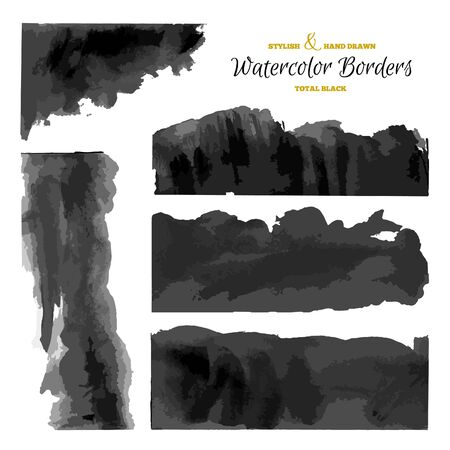 ombre: Set of 5 Watercolor Dark Stripes. Black Vector Borders. Hand Drawn Grunge Textures.