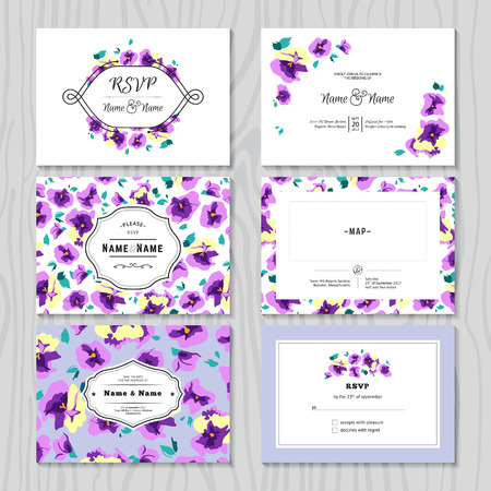 pansy: Set of Wedding Invitation Cards. Vector Templates with Pansy Flowers, Labels and Frames. Illustration