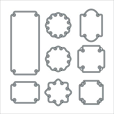 marcos redondos: Conjunto de 8 agraciado aislado Marcos. Vector Ornamento decorativo líneas.