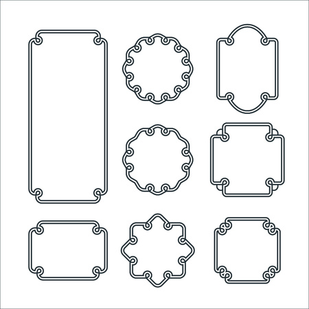 border: Set of 8 Isolated Graceful Frames. Vector Decorative Ornament Lines.