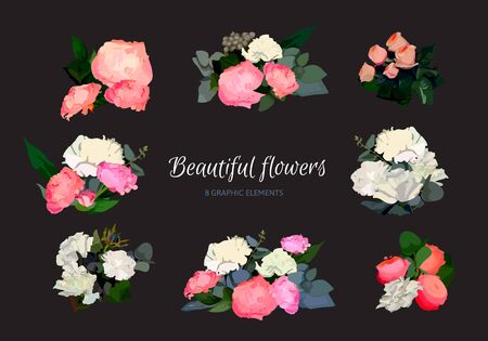 detailed: Set of Beautiful Detailed Floral Bouquets. Vector Greetings and Invitations Decorations.