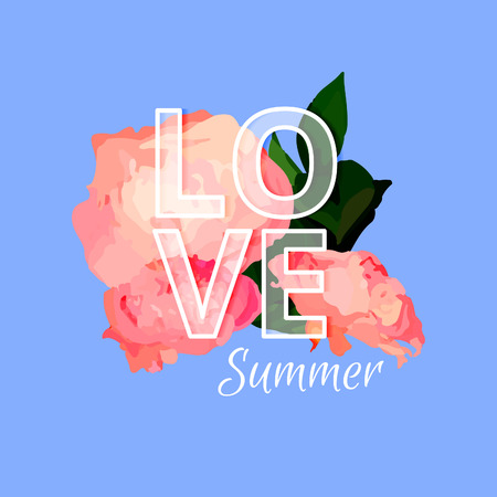 hintergrund liebe: Bright Summer Background. Love Summer Illustration. Vector Card Design with Text and Flowers.